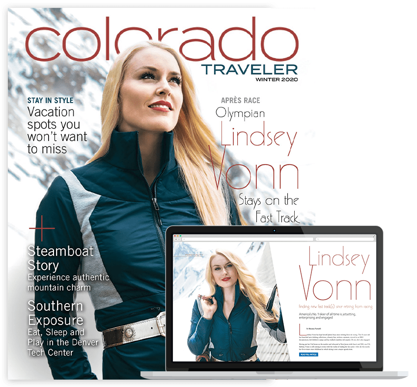 Colorado Traveler Magazine Winter 2020 cover and laptop look