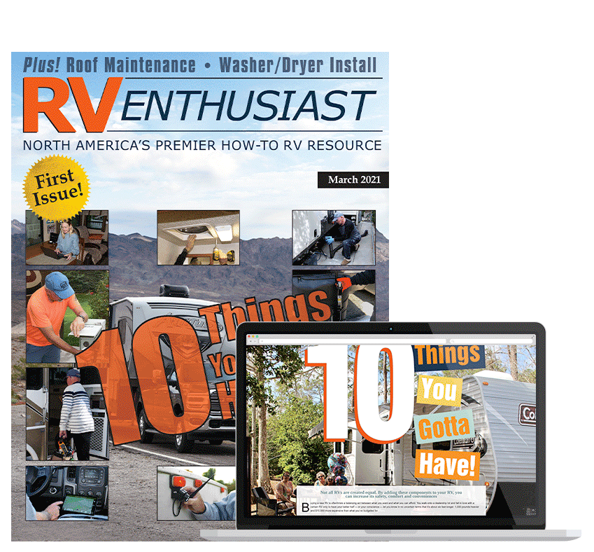 RV Enthusiast March 2021 cover and laptop look